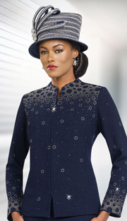 BenMarc 47965  ( 2pc Exclusive Knit Ladies Church Suit Swan-Necked Collar )