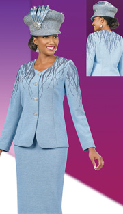 Ben Marc 48010 ( 3pc Exclusive Knit Ladies Suit For Church With Rhinestones Details )