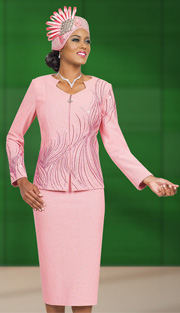 Ben Marc 48008 ( 2pc Exclusive Knit Women Skirt Suit For Church With Rhinestones Embellishments )