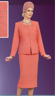 Ben Marc 48007 ( 2pc Exclusive Knit Designer Women Suit For Church With Jewel Collar )