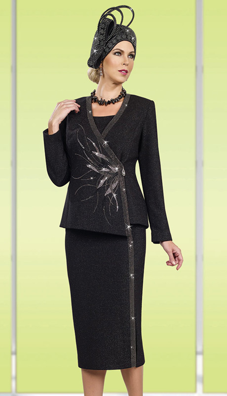 Ben Marc 48004 ( 3pc Exclusive Knit Women Suit For Church With Asymmetric Jacket)