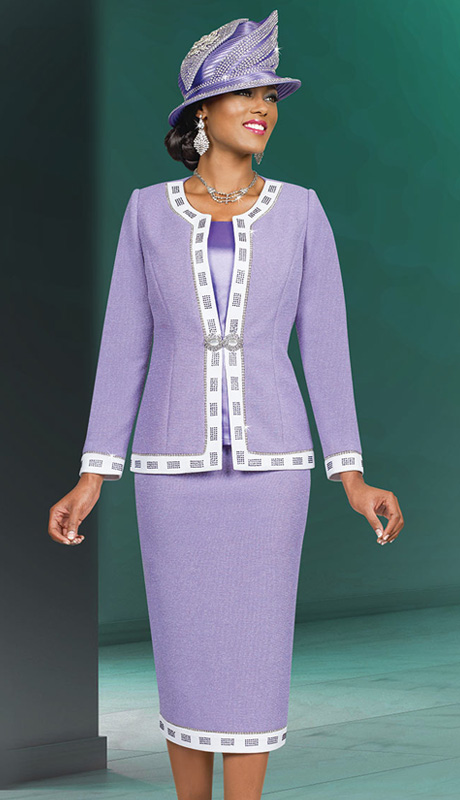 Ben Marc 48001 ( 3pc Exclusive Knit Designer Sunday Church Suit With Jewel Collar)