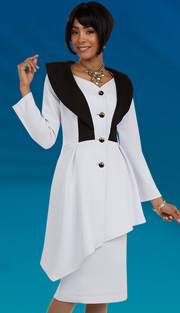Ben Marc 48088 ( 2pc Scuba Knit Ladies Suit For Church With Asymmetric Peplum Jacket And Skirt )
