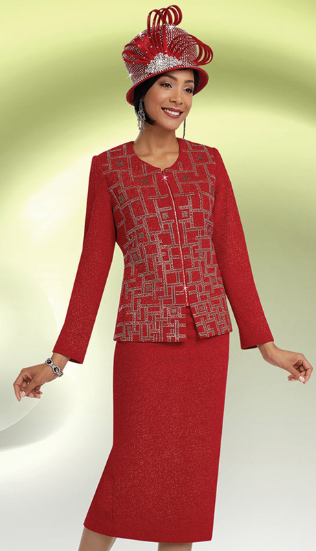 Ben Marc 48059 ( 2pc Knit, Geometric Rhinestone Pattern, Zipper Front Jacket With Skirt For Church )