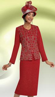 Ben Marc 48059 ( 2pc Knit, Geometric Rhinestone Pattern, Zipper Front Jacket With Skirt For Church )