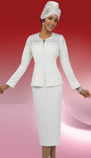 Ben Marc 48058-WH ( 2pc Knit, Rhinestone Scallop Pattern, Zipper Front Jacket With Skirt, Ladies Suit For Church )