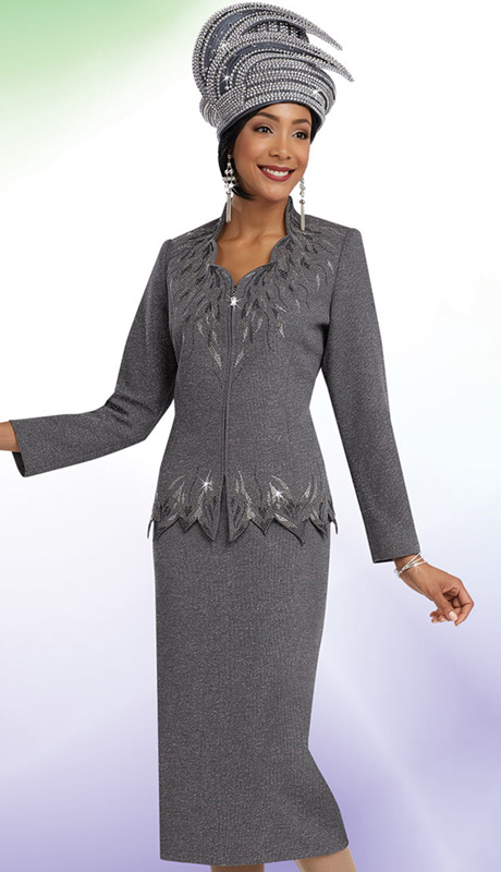 Ben Marc 48057 ( 2pc Knit Rhinestone Leaf Pattern, Zipper Front Jacket With Skirt, Ladies Church Suit )