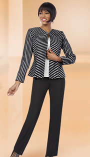 Ben Marc Executive 11612 ( 3pc Ladies Career Suit With Lace Chevron Stripe Jacket With Solid Cami And Pant )