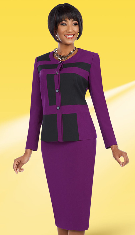 Ben Marc Executive 11619 ( 2pc Ladies Church And Career Suit With Geometric Pattern Jacket And Solid Skirt )