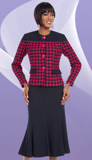 Ben Marc Executive 11620 ( 2pc Womens Church And Career Suit With Diamond Pattern, Button Front Jacket With Flare Skirt )