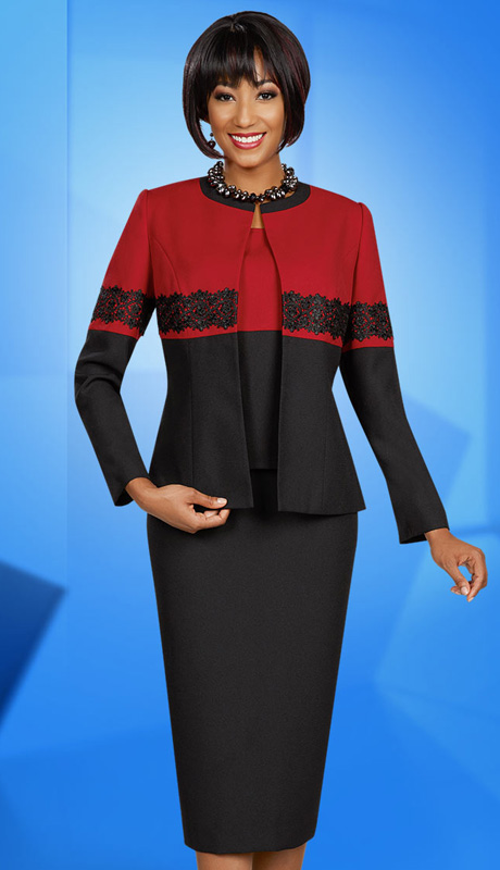 Ben Marc Executive 11621 ( 3pc Ladies Church And Career Suit With Lace Trim On Jacket With Skirt )