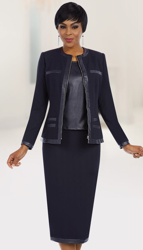 Ben Marc Executive 11623 ( 3pc Womens Church And Career Suit With Pleather Trimmed Jacket, Cami And Skirt )