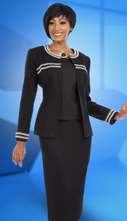 Ben Marc Executive 11624 ( 3pc Ladies Church And Career Suit With Frayed Ribbon Trim On Jacket With Cami And Skirt )