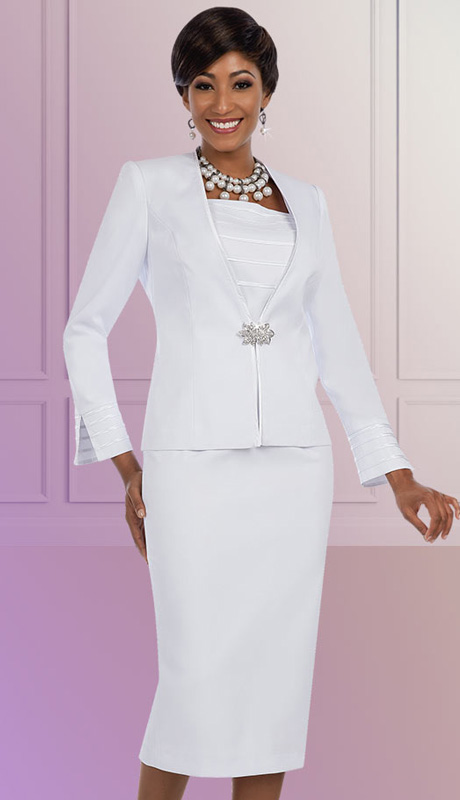Ben Marc Executive 11625 ( 3pc Ladies Church And Career Suit WithStripe Ribbon Trim On Jacket Sleeve And Cami With Skirt )