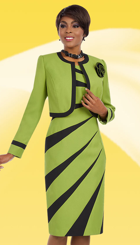 Ben Marc Executive 11629 ( 2pc Ladies Church And Career Dress With Radial Stripe Pattern And Jacket With Flower Brooch )