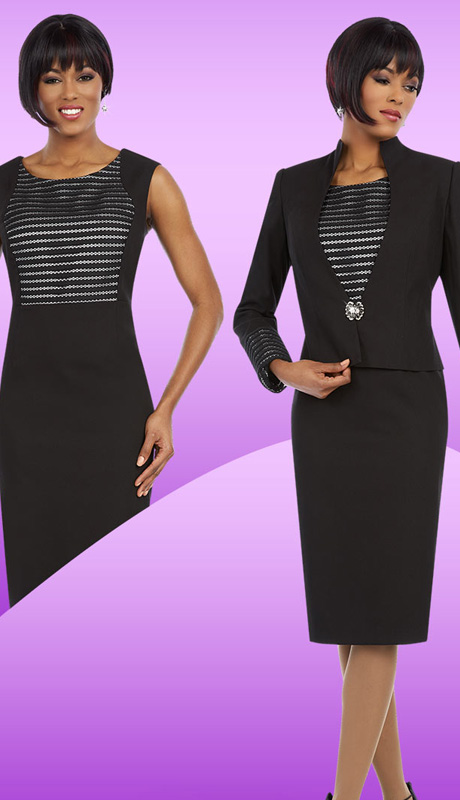 Ben Marc Executive 11631 ( 2pc Womens Chucrh And Career Jacket Dress With Mesh Stripe Pattern And Rhinestone Buckle )