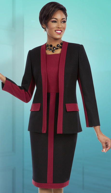 Ben Marc Executive 11633 ( 2pc Ladies Church And Career Dress With Jacket Stripe And Color Block Design )