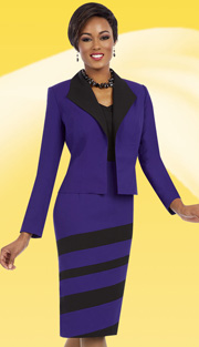Ben Marc Executive 11634 ( 2pc Womens Church And Career Dress With Dynamic Stripe Pattern )