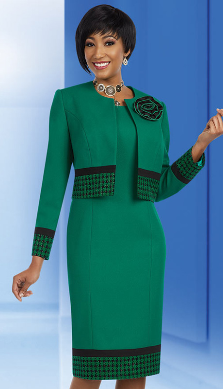 Ben Marc Executive 11635 ( 2pc Ladies Church And Career Dress With Herringbone Pattern Design And Jacket With Flower Brooch )