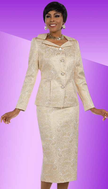Ben Marc Executive 11636 ( 2pc Ladies Church And Career Suit With Metallic Paisley Pattern Jacket And Skirt )