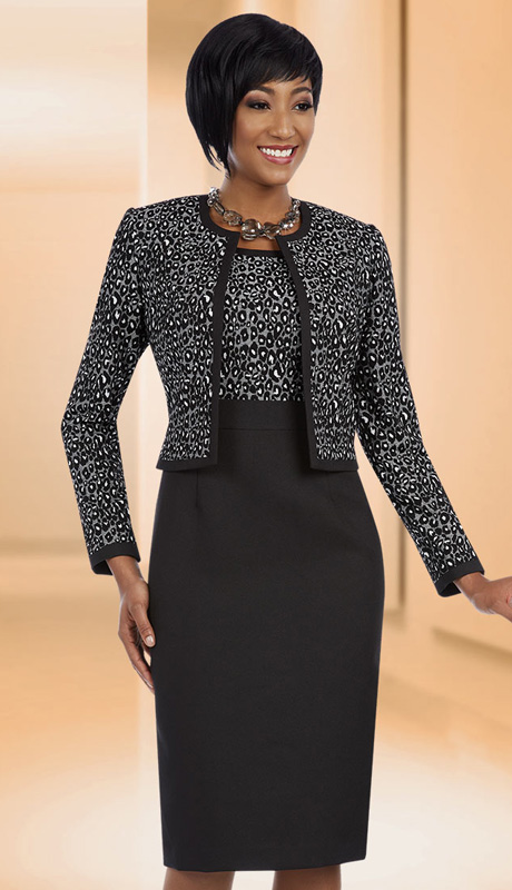 Ben Marc Executive 11640 ( 2pc Ladies Church And Career Dress With Leopard Pattern Jacket And Pleated Waist Dress )