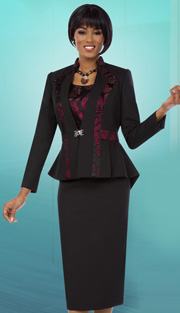 Ben Marc Executive 11645 ( 3pc Womens Church And Career Suit  With High_Low Peplum Jacket, Cami And Skrt )