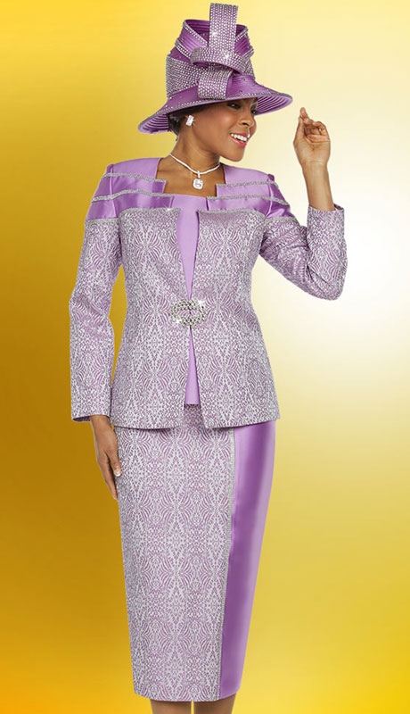 Ben Marc 48212-OR ( 3pc Exclusive Brocade Ladies Church Suit )