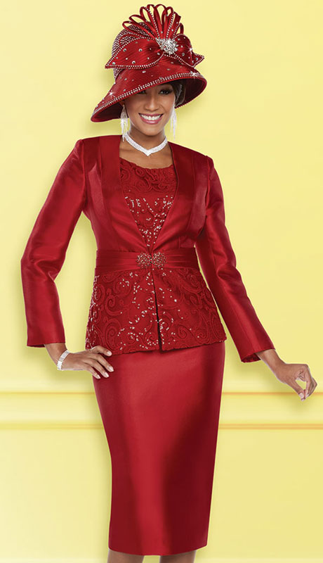 Ben Marc 48211-RE ( 3pc Exclusive Silk First Lady Suit )