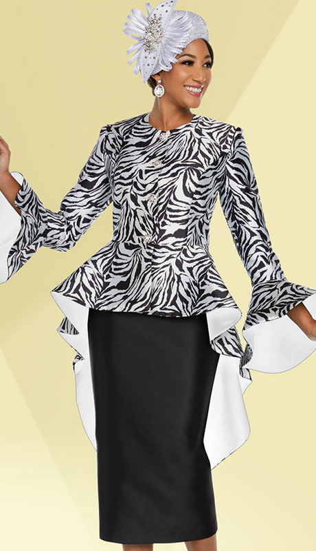 Ben Marc 48227-BW ( 2pc Exclusive Silk Womans Sunday Suit )