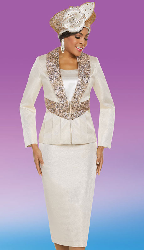 Ben Marc 48213-CH ( 3pc Exclusive Silk Brocade Womans Sunday Suit )