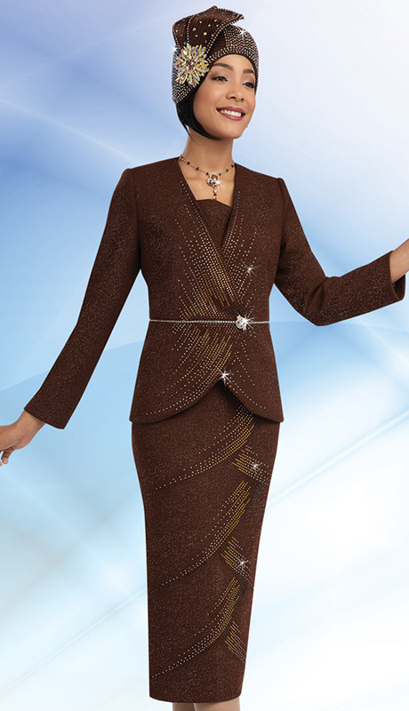 Ben Marc 48056-CHOC ( 2pc Knit, Tonal Rhinestone Cascading Detailed Jacket And Skirt Womens Suit For Church )