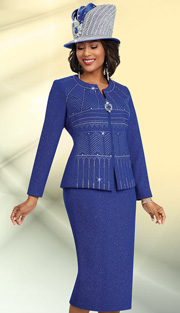 Ben Marc 48060-ROY ( 2pc Knit With Rhinestone Chevron Pattern, Zipper Front Jacket With Large Rhinetsone Embellishment, Ladies Jacket And Skirt For Church)