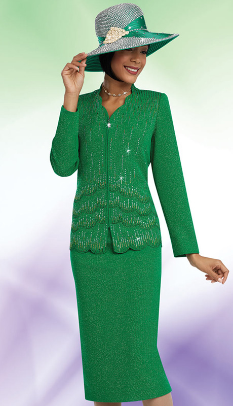Ben Marc 48061 ( 2pc Knit Ladies Church Suit With Cascading Rhinestones And Scallop Jacket WIth Skirt )