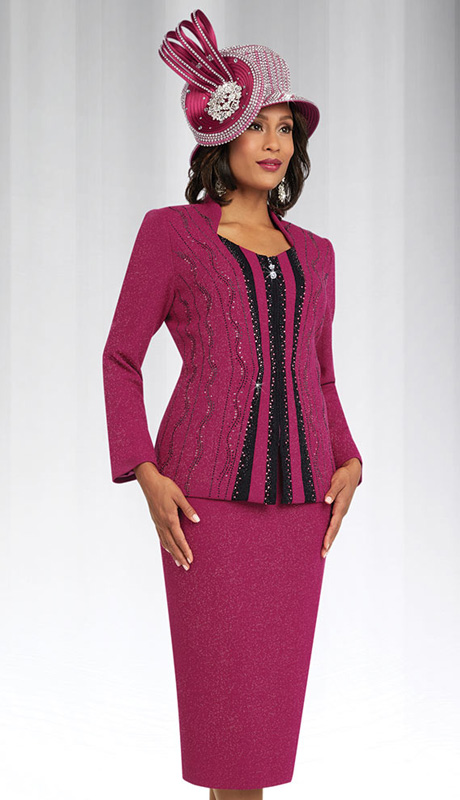 Ben Marc 48062 ( 2pc Knit With Rhinestone Embellishment And Black Stripes Down Front Of Jacket With Skirt, Ladies Suit )