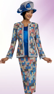 Ben Marc 48063 ( 3pc Brocade Geometric Pattern Jacket And Skirt With Soiid Cami, Womens Church Suit )