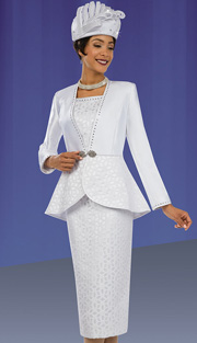 Ben Marc 48064 ( 3pc Silk With Lace, Peplum With Rhinestone Trim And Daisy Pattern Jacket, Cami And Skirt For Church )