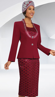 Ben Marc 48065 ( 3pc With Lace, Scoop Neck Jacket With Large Rhinestone Embellishment, Cami And Skirt With Diamond Pattern Lace, Ladies Suit For Church )