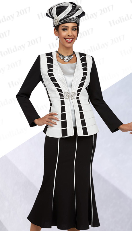 Ben Marc 48067 ( 3pc Ladies Church Suit With White Piping Detail On Jacket With Cami And Skirt )