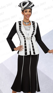 Ben Marc 48067 ( 3pc Ladies Church Suit With White Piping Detail On Jacket With Cami And Skirt ) )