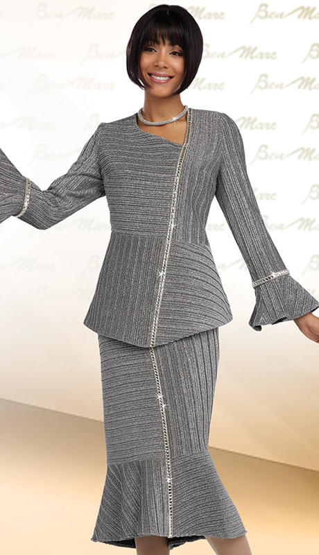 Ben Marc 48070 ( 2pc Metallic Novelty Womens Church Suit With Rhinestone Trim, Top With Flounce Sleeve And Asymetric Neckline And Skirt )