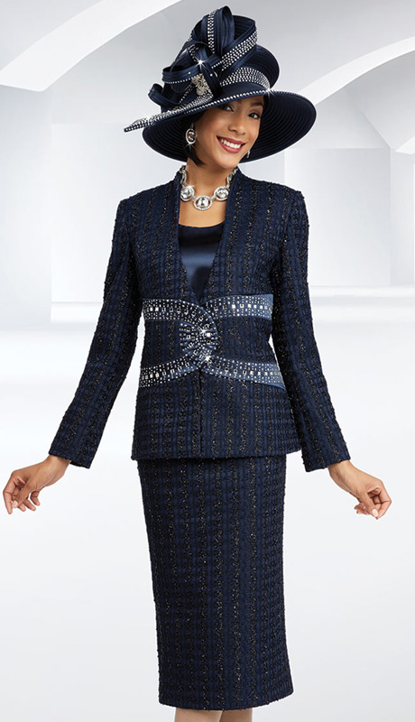 Ben Marc 48071 ( 3pc Novelty Womens Church Suit Laced WIth Metallic, Rhinestone Details Around Waist Of Jacket With Cami And Skirt ))