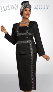 Ben Marc 48072 ( 2pc Metallic Church Suit With Rhinestone Detailed Jacket And Skirt )