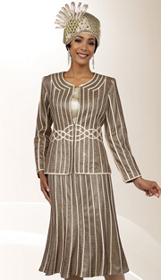 Ben Marc 48073 ( 3pc Silk With Laced Ribbon And Rhinestone Embellished Womens Church Suit )