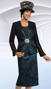 Ben Marc 48076 ( 3pc Silk With Lace And Sequins On Jacket, Skirt And Solid Cami, Ladies Church Suit )