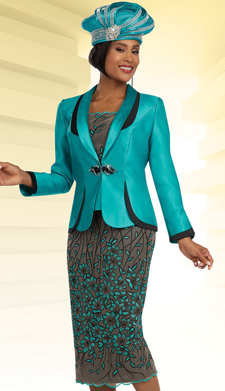 Ben Marc 48077 ( 3pc Silk With Floral Pattern Embroidered Lace,  Jacket, Cami And Skirt For Church )