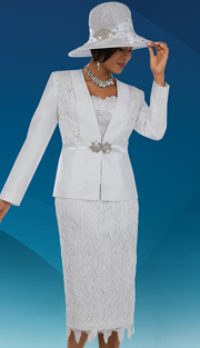 Ben Marc 48078 ( 3pc Silk Lace Floral Pattern With Rhinestone Buckle On Jacket With Cami And Skirt, Ladies Church Suit )