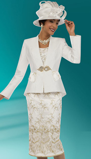 Ben Marc 48079 ( 3pc Silk Lace, Ladies Church Suit With Elaborate Floral Pattern And Rhinetsone Buckle On Jacket With Cami And Skirt )