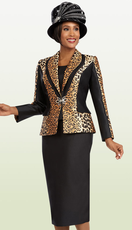 Ben Marc  48081 ( 3pc Silk Ladies Church Suit, With Leopard Print Jacket, Solid Cami And Skirt )