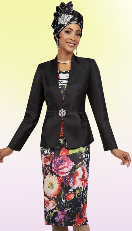 Ben Marc 48082 ( 3pc Silk With Graphic Flower Print Cami, Skirt And Solid Jacket For Church )