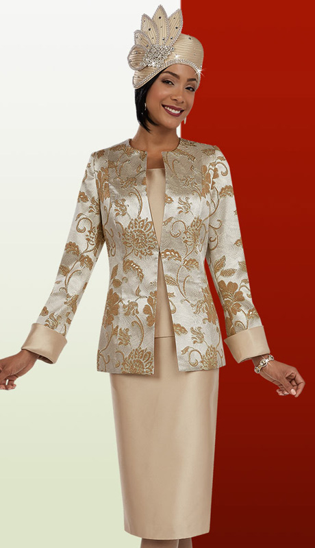 Ben Marc  48083 ( 3pc Brocade With Floral Print Jacket And Solid Cami And Skirt, Ladies Suit For Church )